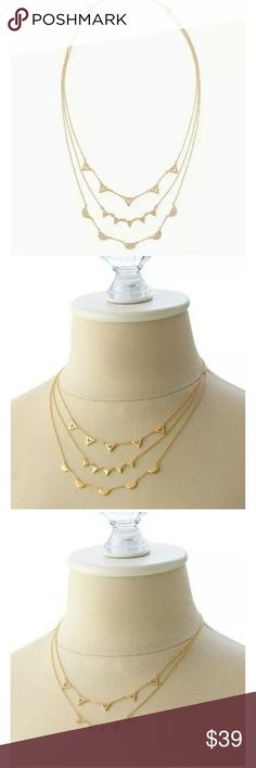 STELLA AND DOT Pave Chevron Necklace To say it's a 3-in-1 necklace would be an understatement! One side of each necklace has delicate micro pave geometric shapes and the other side of each necklace is shiny gold! Wear with all 3 strands clipped together or unclasp each strand to make your own combination! Excellent condition....looks brand new! Stella & Dot Jewelry Necklaces
