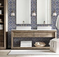 33 Beautiful Moroccan Bathroom Decor Ideas - It may not always seem important, but the bathroom is a part of the home that everyone spends time in. And even though it's not the main focus of the . Blue Moroccan Tile, Moroccan Bathroom, Moroccan Tile Backsplash, Modern Moroccan Decor, Moroccan Design, Spanish Bathroom, Spanish Style Bathrooms, Spanish Style Interiors, Mediterranean Bathroom
