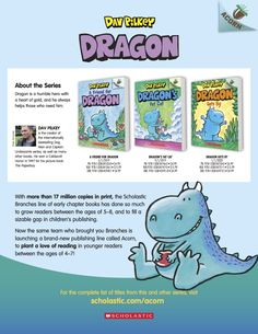 Get information about the Acorn series Dragon by Dav Pilkey for beginning readers and do some fun drawing and writing activities! Reading Resources, Writing Activities, Dragon Series, Early Readers, Fat Cats, Acorn, Cool Drawings, Lesson Plans, Friendship