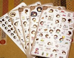 Borges Südkorea schreibwaren super nettes mädchen mädchen cookies kawaii aufkleber PVC transparente aufkleber aufkleber