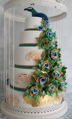 Peacock Wedding Cake - Cake by Candy's Cupcakes