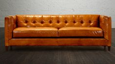 "COCOCO Home Arden-86 inch-Couch-Leather-Mont Blanc Amber. If you like mid-century modern then our Arden Sofa is the perfect choice.Choose from a variety of leathers or fabrics to make it your own ""One of a kind"". www.cococohome.com"