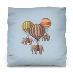 Flight of the Elephants Blue Outdoor Throw Pillow