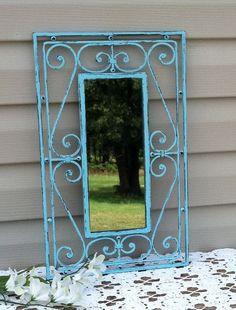 Aqua Country French Mirror / Cast Iron Wall Mirror / Beach Decor.