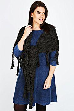 Fashion Bug Plus Size Womens Chunky Knit Wrap With Tassels www.fashionbug.us #plussize 1X 2X 3X 4X 5X 6X