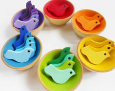 Kids wood sorting color matching montessori birds and nests game