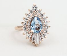 The Rhapsody — Heidi Gibson Deco Engagement Ring, Diamond Engagement Rings, Jewelry Rings, Jewelry Box, Pear Diamond, Best Iphone, Pear Shaped, Dream Wedding, Forest Wedding