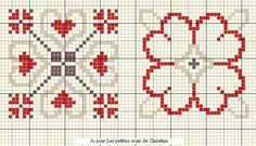 Grille 39 : Biscornu aux coeurs - les petites croix de Christine