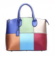 Olyer Women's Fashion Blue PU Tote bag