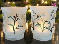 Frosted Glass Candle Holders with a Curved Top - Set of 2