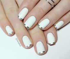 Silver & White French tip manicure nail art