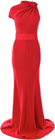 Giambattista Valli Silk Cady Full Length Dress in Red