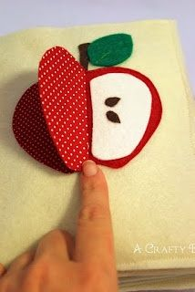 See the inside of the apple - A cute idea to make with all the fruits and make into a quiet book page #Quiet Book