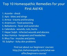 Top 10 Homeopathic Remedies for your First Aid Kit