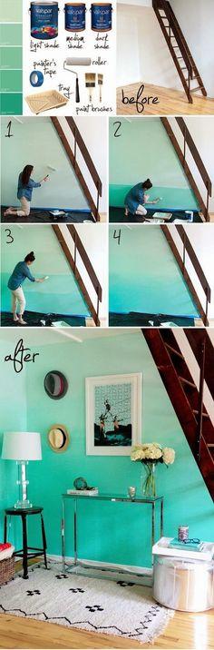 DIY - ombré stěna - výmalba