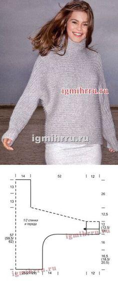 Светло-серый свитер, связанный поперек. Вязание спицами