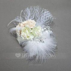 [US$ 10.99] Beautiful Net Yarn/Feather/Silk Flower Combs & Barrettes (042074398)