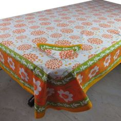 Linens Table Summer Spring Colorful Rectangular Tablecloth 60 X 90, with Napkins Set of 6: Amazon.com: Kitchen & Dining