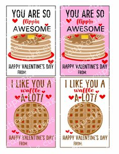Fun Pancake and Sauce Valentine! Just print and write name on card Each Valentine Card is 3.5 x 5 inches on a 8.5 X 11 printing size sheet. Make sure to check out the link for printing ideas and making your Valentines a special treats! Valentine Card Printing Tutorial http://cupcakecutiees.blogspot.com/2015/01/valentine-large-cards-basic-printing.html Making Your Valentine Card with treats http://cupcakecutiees.blogspot.com/2016/01/putting...