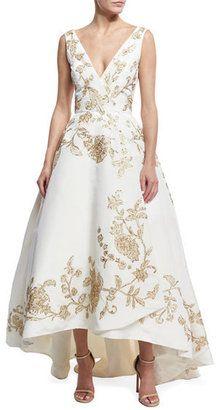 Oscar de la Renta Embroidered Silk Faille High-Low Gown - $13,990.00