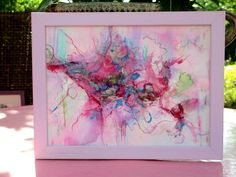 Abstract original  painting small format on paper framed 106