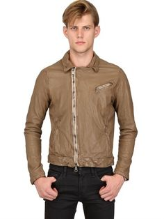$1,158, Tan Leather Biker Jacket: Giorgio Brato Washed Dyed Nappa Leather Biker Jacket. Sold by LUISAVIAROMA. Click for more info: http://lookastic.com/men/shop_items/32986/redirect