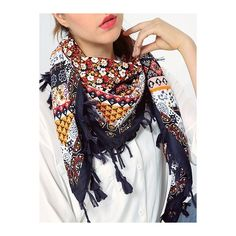 Bohemian Floral Pattern Tassel Scarf ($8.14) ❤ liked on Polyvore featuring accessories, scarves, floral print scarves, floral scarves, boho scarves, tassel scarves and floral shawl