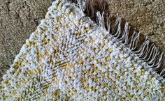 Yellow hand woven rag rug 5 ft long made in by BackPorchCountry