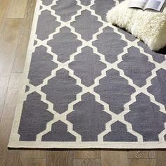 I love this DIY rug. We don't have the mula for a great big rug in our apartment (you walk on it ...why should it cost anything?) but we need one since we'll have hardwood floors. This way we can use a rug that we already have that's just plain beige.