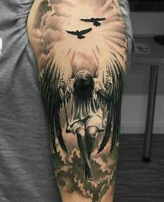 Engel Tattoo Designs mit Bedeutungen – 30 Ideen Angel tattoo designs with meanings – 30 ideas, angel with sword tattoo on back, fantasy Skull Tatto, Neck Tatto, Best Sleeve Tattoos, Leg Tattoos, Body Art Tattoos, Tattoo Drawings, Jesus Tattoo, Mangas Tattoo, Heaven Tattoos