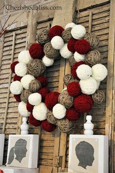Inexpensive way to make a yarn ball wreath @Ashley Walters Walters Walters Walters @ Cherished Bliss:
