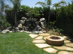 Firepit and waterfall. Love it!