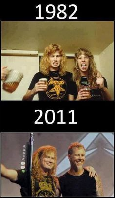 Dave Mustaine & James Hetfield, too bad Metallica kicked him out of the band being a bunch of dicks, We got Megadeth tho Robert Trujillo, Cliff Burton, James Hetfield, Heavy Metal Music, Heavy Metal Bands, Iron Maiden, Good Music, My Music, Historia Do Rock