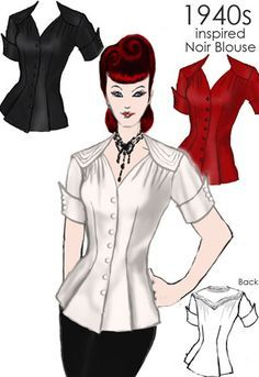 inspired Nior Blouse by Amber Middaugh - I want a long sleeved version for work. Vintage Inspired Fashion, 1940s Fashion, Vintage Fashion, Blouse Patterns, Clothing Patterns, Blouse Vintage, Vintage Dresses, Sewing Clothes, Diy Clothes