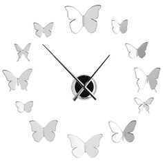 French Mirrored Frameless Large Wall Clock DIY Your Own Style Butterflies | eBay