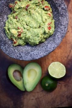 Delicious Guacamole :D  Mash 2 avoados, 1-2 finely-chopped cloves of garlic, 1/2 red onion, juice of 2 limes, 1/2 of a chopped tomato, a sprinkle of sea salt & a few generous pinches of cayenne pepper. Mix well, leave in fridge for a couple hours.