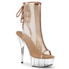 Hot For Heels And More - Pleaser Rose Gold Metallic Pu-Mesh And Clear - Open toe and heel lace-up back mesh ankle boot inside zip closure. Platform Ankle Boots, Platform Stilettos, High Heels Stilettos, Black Ankle Boots, Ankle Booties, Stiletto Heels, Rose Gold Metallic, Metallic Heels, Crazy Heels
