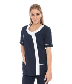 SS R-Neck contrast Tunic with pockets Nursing Uniforms, Medical Uniforms, Nursing Tunic, Nursing Tops, Salon Uniform, Somerset West, Corporate Outfits, Custom Made Clothing, Cape Town South Africa