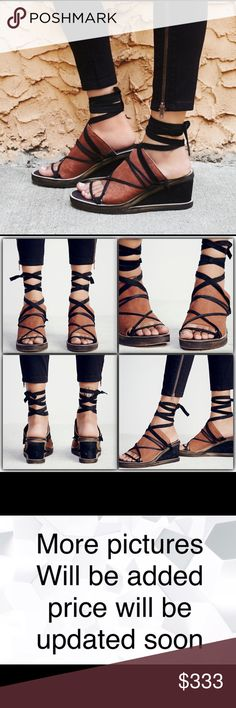 """Free People Bowery Wedge New Slip-on these super cute leather wedges with a wide band and contrast crisscross straps. Adjustable tie.  Leather Made in Portugal Product measurements Wedge: 3.0"""" = 7.62 cm Free People Shoes Wedges"""