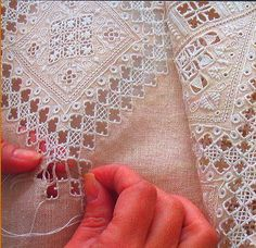 Hardanger Embroidery So delicate! Which is why I LOVE hardanger. Types Of Embroidery, White Embroidery, Ribbon Embroidery, Embroidery Patterns, Hardanger Embroidery, Cross Stitch Embroidery, Broderie Bargello, Drawn Thread, Rico Design