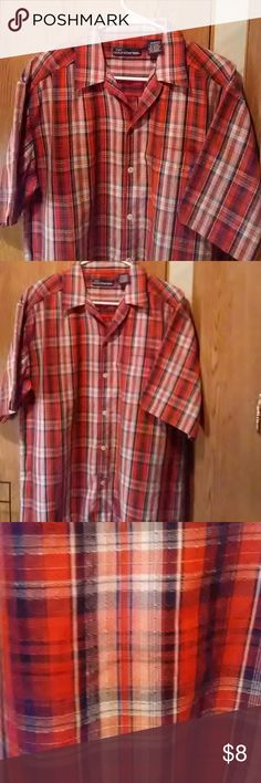 Orange plaid shirt  sz M Orange,black  and white plaidnshirt. Short sleeves,  sz M by No Boundaries. Cotton/poly blend. Gently preowned.  Smoker and pets in the home.  Questions  are always welcome. No Boundaries Shirts Casual Button Down Shirts