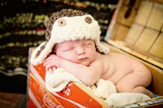 infant photography props | Newborn Baby Boy Photo Prop Aviator Hat by MitziKnitz on ... | crochet