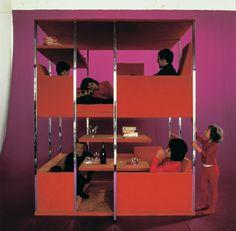 Multi-functional living unit by Verner Panton