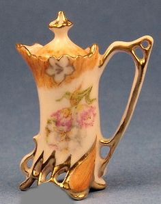 "R. S. Prussia chocolate pot - Tulips - Hand painted - By Porcelain Fantasies - 1 1/4"" tall"