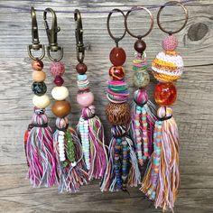 New in my shop ✨ Tassel Keychain, Diy Keychain, Diy Macrame Earrings, Shabby Chic Hearts, Magical Jewelry, Diy Tassel, Macrame Projects, Fabric Beads, Earring Tutorial