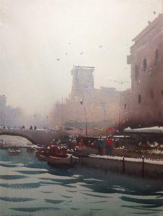 Sketchbook: watercolor of Dubai landscape 1