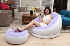 Flocking inflatable lazy sofa bed single sofa nap lounge modern simple bedroom chair with pedal,footstool bean bag chair Retro Dining Chairs, Balcony Table And Chairs, Shabby Chic Table And Chairs, Ottoman Sofa, Sofa Bed, Bean Bag Sofa, Single Chair, Flocking, Bedroom Chair