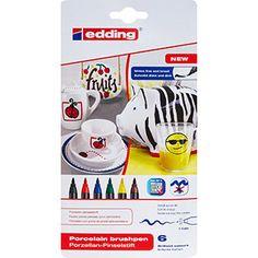 Set of Six Porcelain Brush Marker Pens