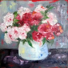 Pretty in Pink by Sharon Cave Oil painting of flowers Crow, Pretty In Pink, Still Life, Pastel, Oil, Flowers, Artwork, Painting, Raven