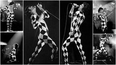 """""""In an interview in 'New Musical Express' in June 1977, Freddie referred to the appearance of the ballet costumes in his onstage wardrobe. He is quoted as saying: 'I'm into this ballet thing…and trying to put across our music in a more artistic manner than before. (It) may not be quite right for rock 'n' roll…(but) if you don't try these bloody things out, you'll never know."""" Freddie Mercury Quotes, Queen Freddie Mercury, Hard Rock, Harlequin Costume, Mercury Black, Eyes Looking Down, Queen Band, Killer Queen, Rare Pictures"""